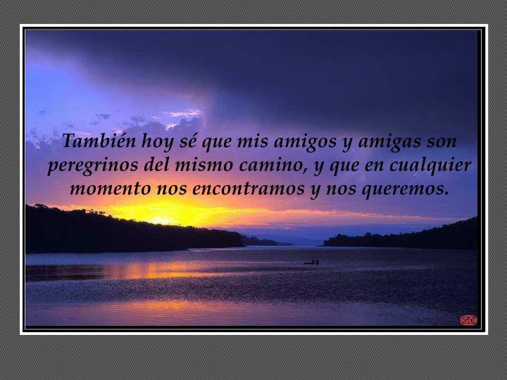 También hoy sé que mis amigos y amigas son peregrinos del mismo camino, y que en cualquier momento nos encontramos y nos queremos.