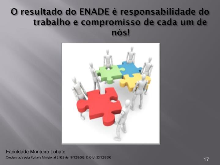 O resultado do ENADE é responsabilidade do trabalho e compromisso de cada um de nós!