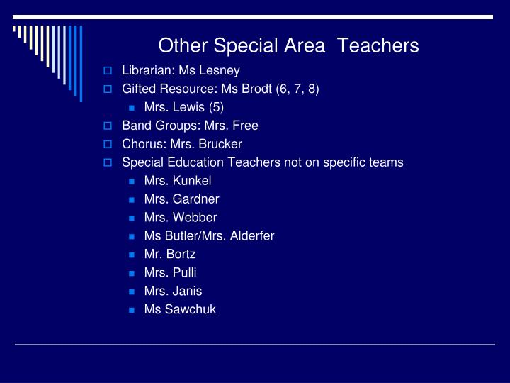 Other Special Area  Teachers