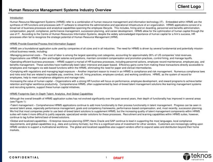 Human Resource Management Systems Industry Overview