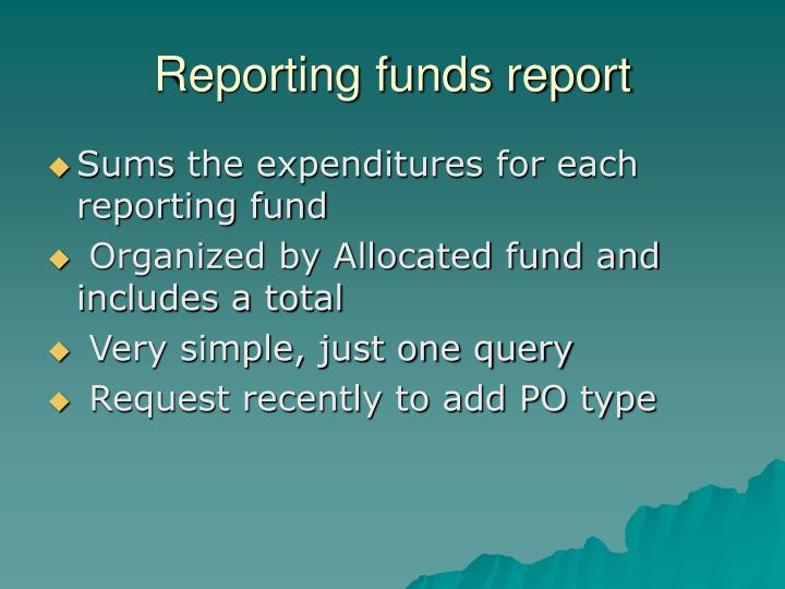 Reporting funds report
