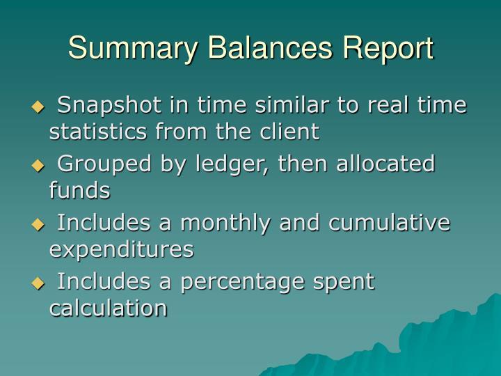 Summary Balances Report