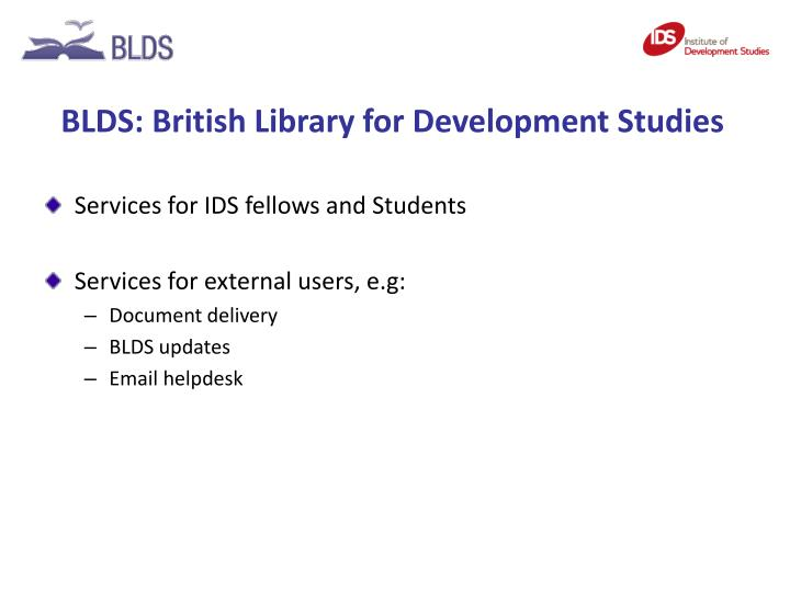 BLDS: British Library for Development Studies