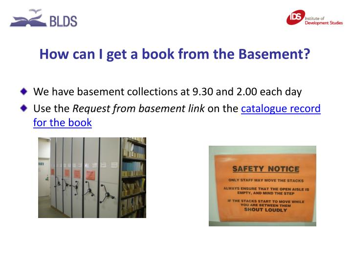 How can I get a book from the Basement?