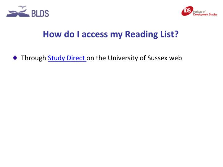 How do I access my Reading List?