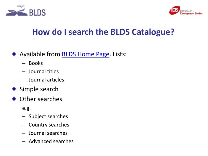 How do I search the BLDS Catalogue?