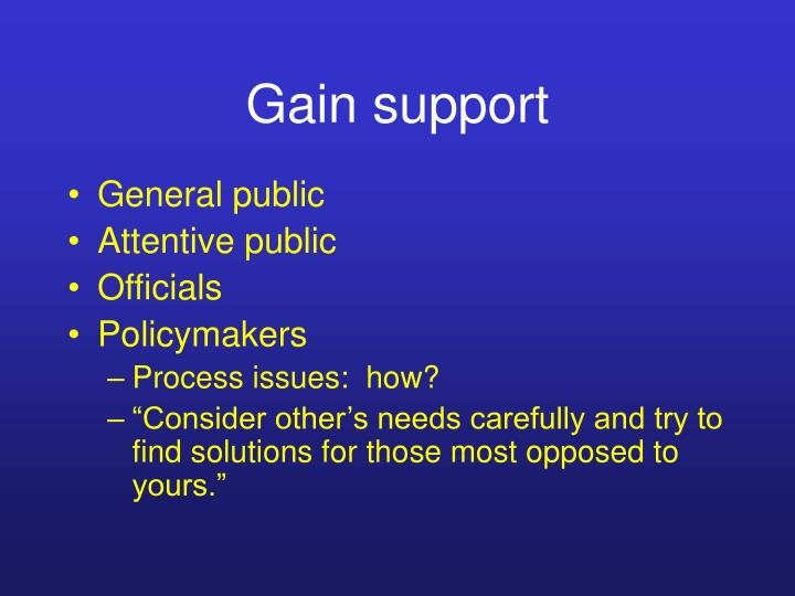 Gain support
