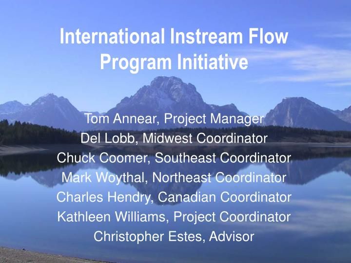 International Instream Flow Program Initiative