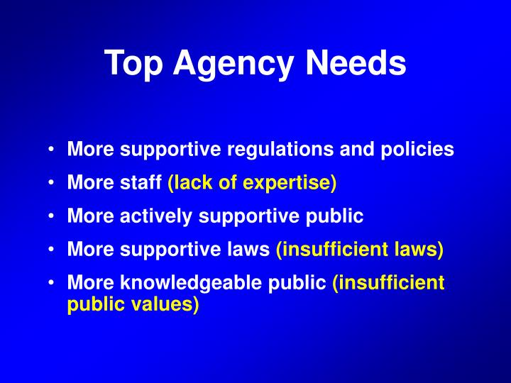 Top Agency Needs
