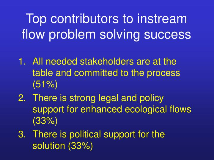 Top contributors to instream flow problem solving success
