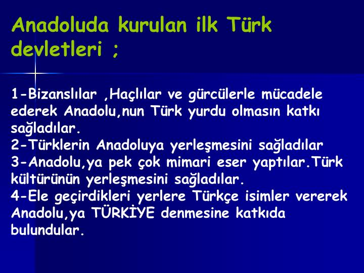 Anadoluda kurulan ilk Türk devletleri ;