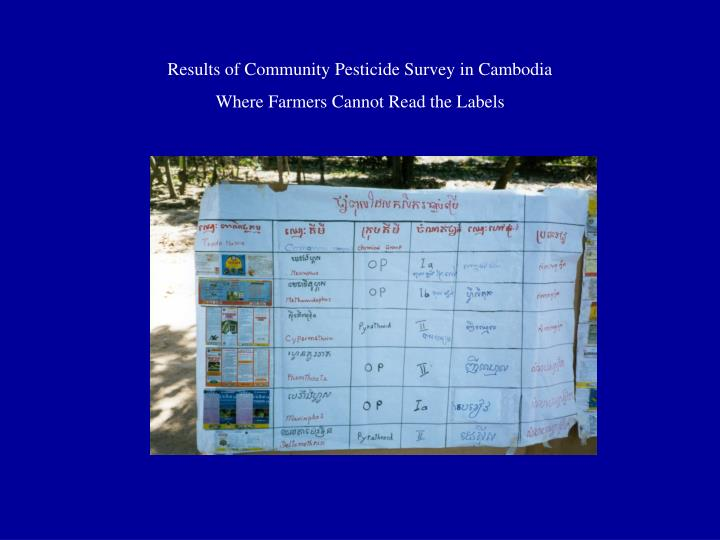 Results of Community Pesticide Survey in Cambodia