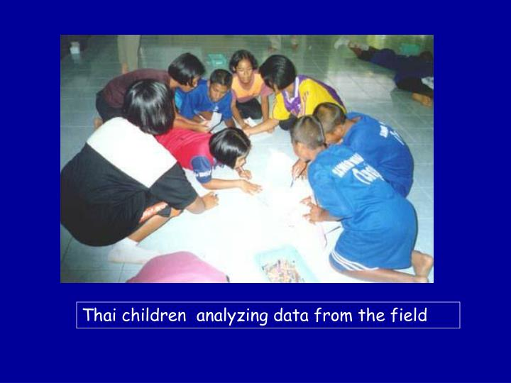 Thai children  analyzing data from the field