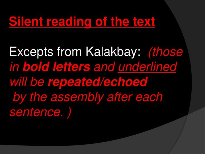 Silent reading of the text