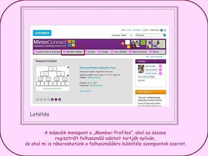 A msodik menpont a Member Profiles, ahol az sszes