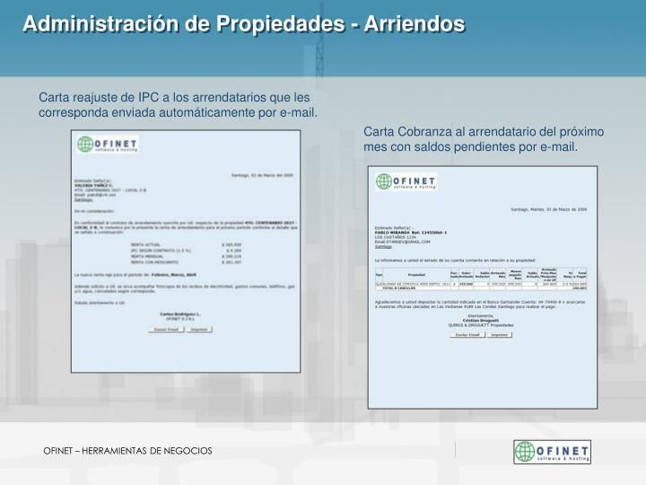 Administración de Propiedades - Arriendos