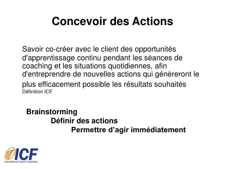 Concevoir des Actions