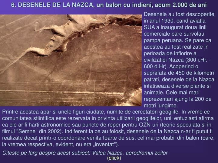 6. DESENELE DE LA NAZCA, un balon cu indieni, acum 2.000 de ani