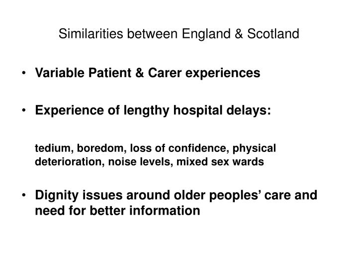 Similarities between England & Scotland