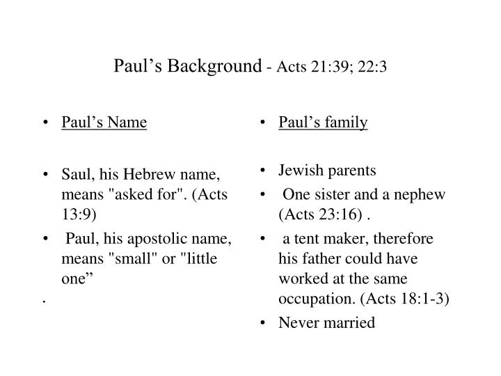 Paul s background acts 21 39 22 3
