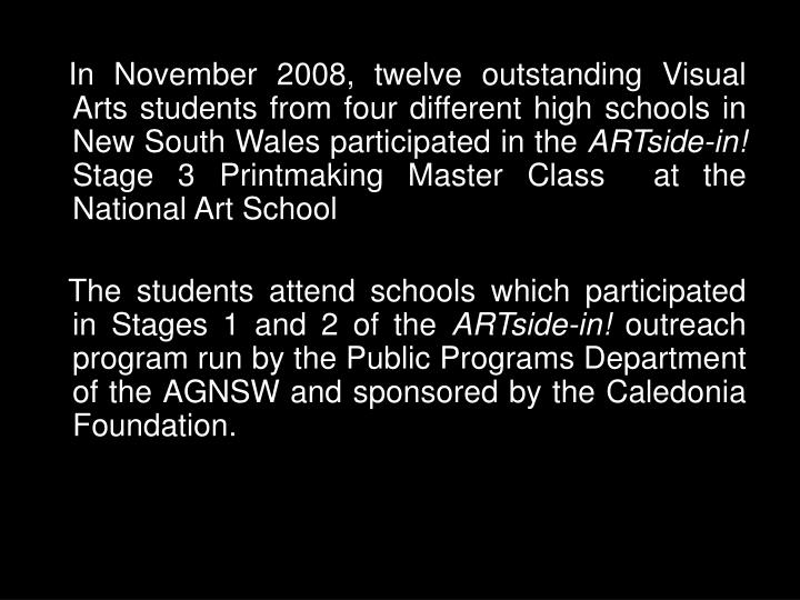 In November 2008, twelve outstanding Visual Arts students from four different high schools in New South Wales participated in the