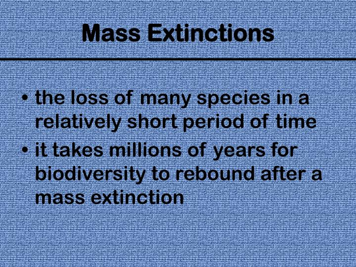 the loss of many species in a relatively short period of time