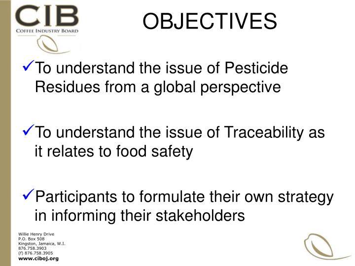 To understand the issue of Pesticide Residues from a global perspective