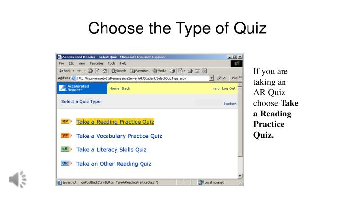 Choose the Type of Quiz