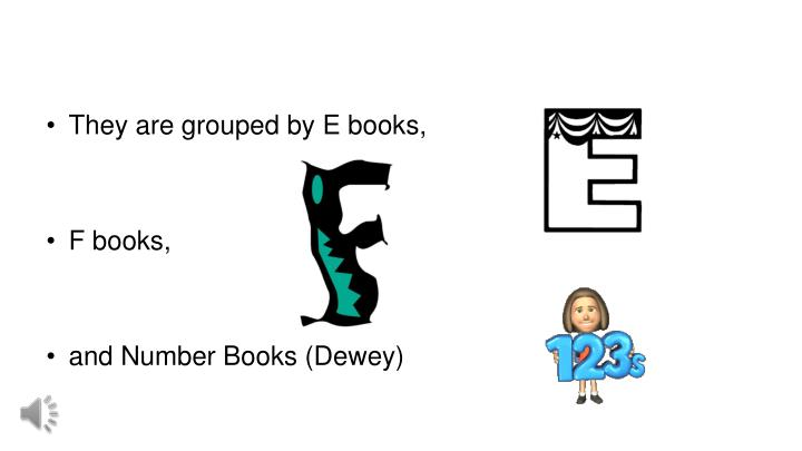 They are grouped by E books,