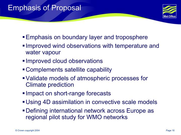 Emphasis of Proposal