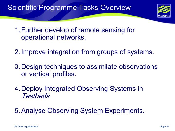Scientific Programme Tasks Overview