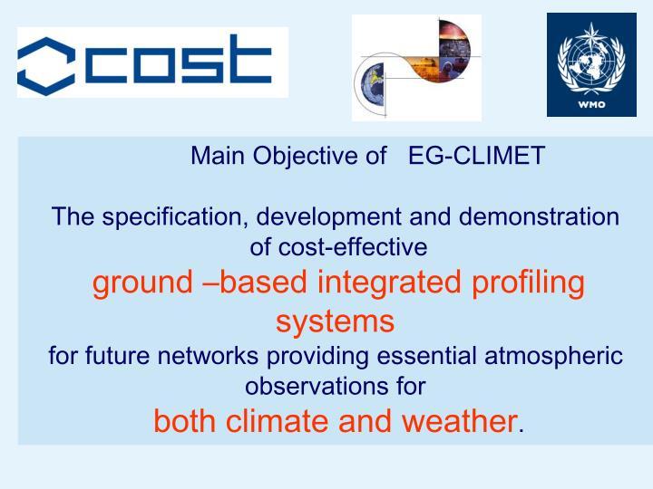 Main Objective of   EG-CLIMET