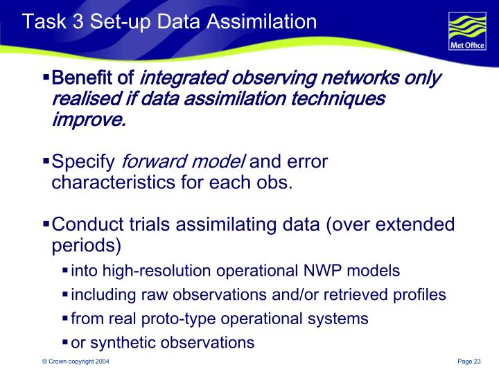 Task 3 Set-up Data Assimilation
