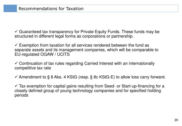 Recommendations for Taxation