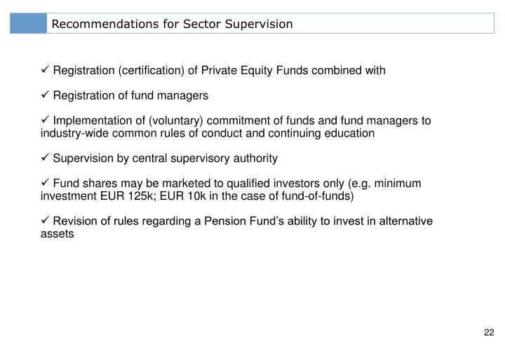 Recommendations for Sector Supervision