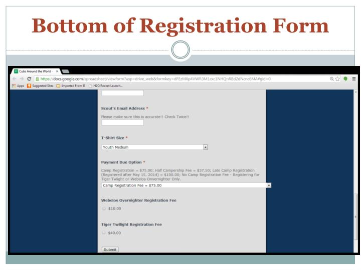 Bottom of Registration Form