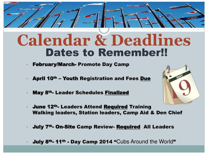 Calendar & Deadlines