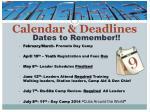 calendar deadlines