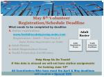may 8 th volunteer registration schedule deadline
