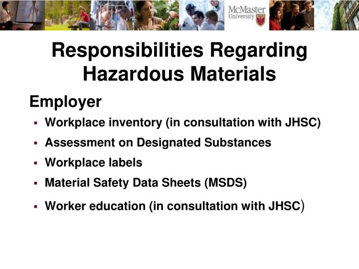 Responsibilities Regarding