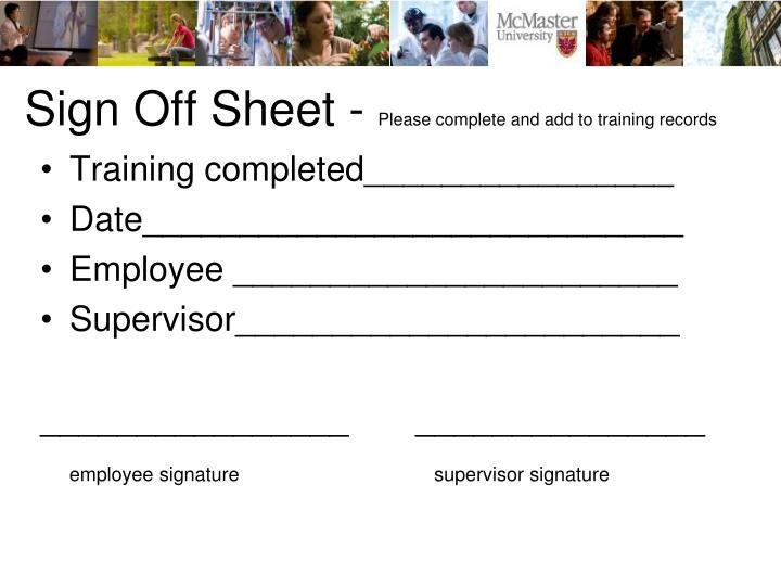 Sign Off Sheet -