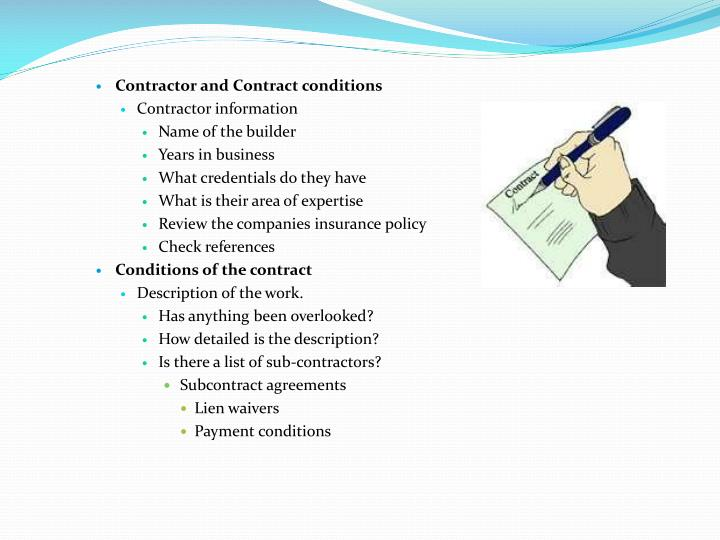 Contractor and Contract conditions