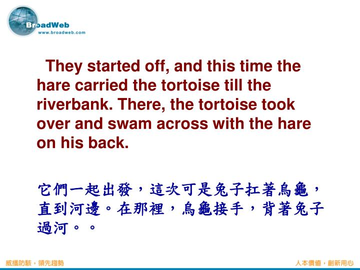 They started off, and this time the hare carried the tortoise till the riverbank. There, the tortoise took over and swam across with the hare on his back.