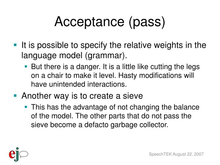 Acceptance (pass)