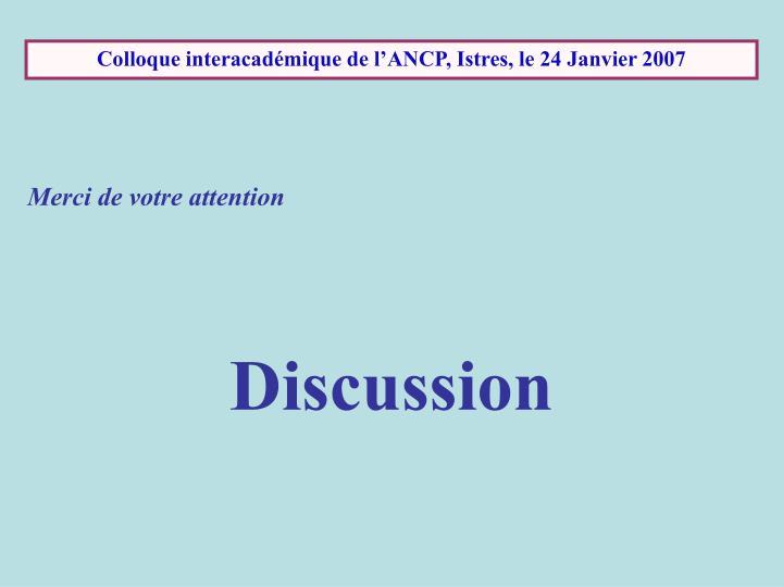 Colloque interacadémique de l'ANCP, Istres, le 24 Janvier 2007