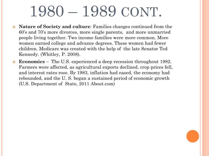 1980 – 1989 cont.