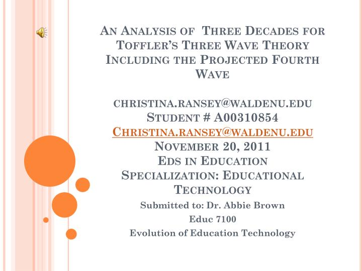 Submitted to dr abbie brown educ 7100 evolution of education technology