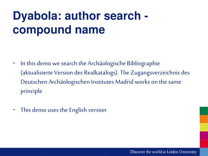 Dyabola author search compound name