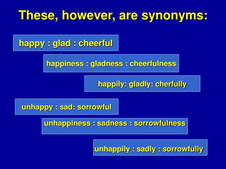 These, however, are synonyms: