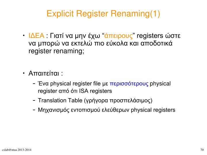 Explicit Register Renaming(1)